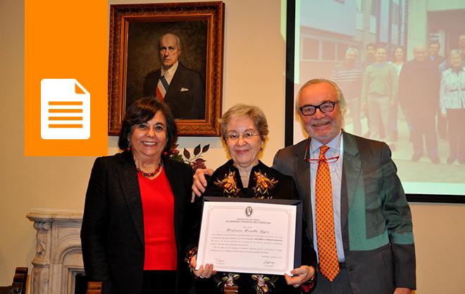 Doctora Rosalba Lagos es recibida como Miembro Correspondiente de la Academia Chilena de Ciencias.