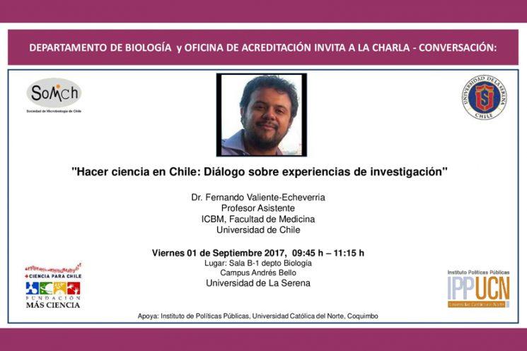"""Invitación conversatorio """"Hacer ciencia en Chile: Diálogo sobre experiencias de investigación"""""""