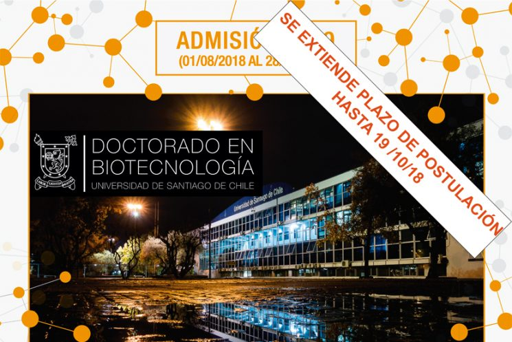 Doctorado en Biotecnología – Se extiende plazo de Postulación Hasta 19/10/18