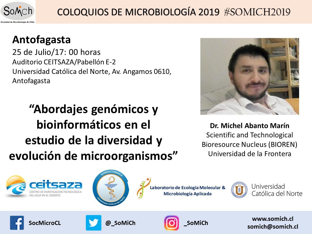 """<strong><span style=""""color: #ff6600;"""" class=""""title-evn"""">COLOQUIO ANTOFAGASTA:</span></strong> <span>""""Abordajes genómicos y bioinformáticos en el estudio de la diversidad y evolución de microorganismos""""</span> @ Auditorio CEITSAZA/Pabellón E-2, Universidad Católica del Norte"""