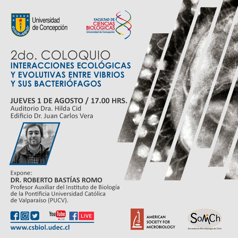 """<strong><span style=""""color: #ff6600;"""" class=""""title-evn"""">COLOQUIO CONCEPCIÓN:</span></strong> <span>""""Interacciones ecológicas y evolutivas entre vibrios y sus bacteriófagos""""</span> @ Auditorio Dra. Hilda Cid, Edificio Dr. Juan Carlos Vera"""