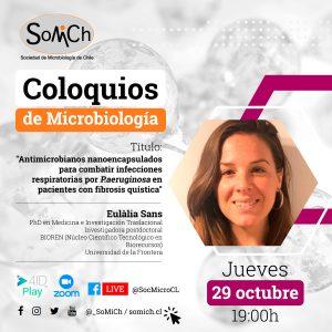 """<strong><span style=""""color: #ff6600;"""" DE class=""""title-evn"""">COLOQUIO MICROBIOLOGÍA:</span></strong> <span>""""Antimicrobianos nanoencapsulados para combatir infecciones respiratorias por P.aeruginosa en pacientes con fibrosis quística""""</span>"""